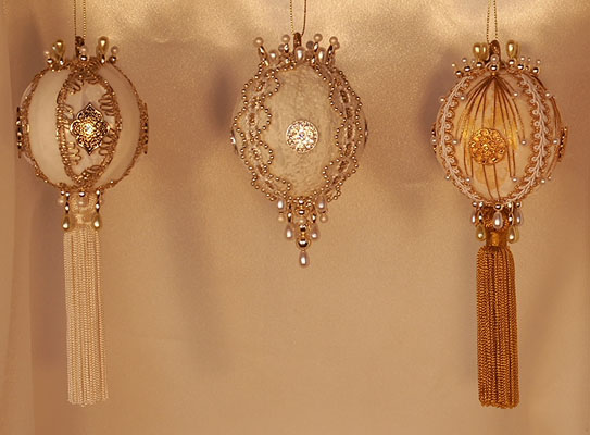 White and gold Gift Boxed Ornaments beautiful set of three Victorian Style ornaments