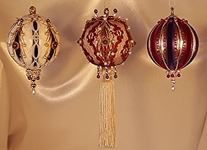 Burgundy and Purple set of three Victorian Style Christmas Tree Ornaments