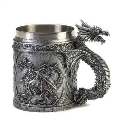 Mythical and Medieval items, dragaons, fairies, mugs and figurines