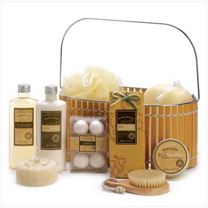 Vanilla Spa Bath and Beauty Products in a Bamboo Basket